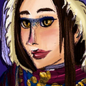 Un fanart d'Echo habillée selon l'univers d'un de mes projets de roman. Comme vous l'aurez remarqué, il y fait froid! Les femmes de la région ont l'habitude de se maquiller d'un trait de couleur sur les paupières et l'arête du nez. Echo porte le foulard traditionnel, dont les couleurs et les motifs indiquent d'ordinaire la région d'origine, le clan, le statut marital, le métier, etc.