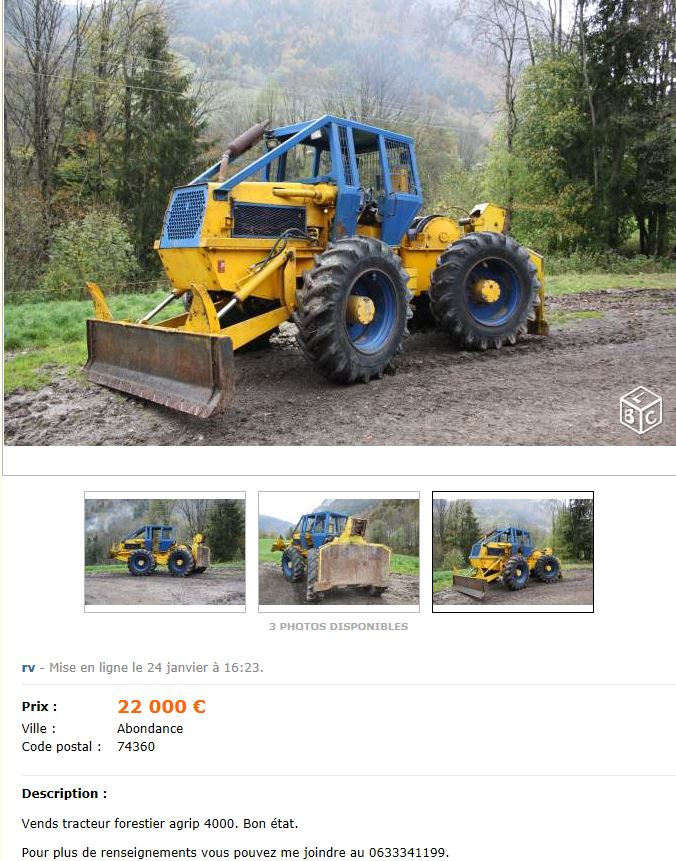 tracteur forestier agrip 4000
