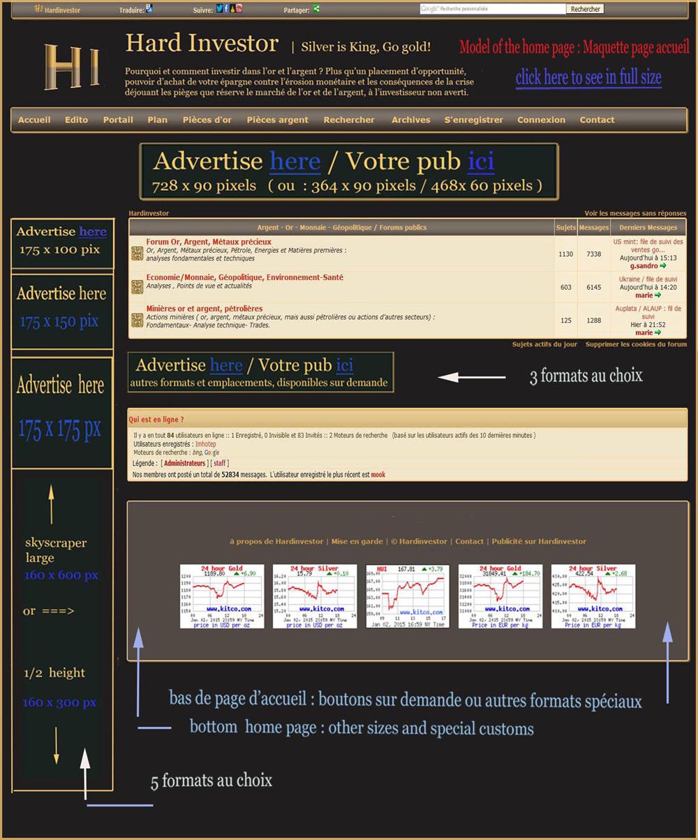 maquette emplacements publicitaires sur la page d'accueil