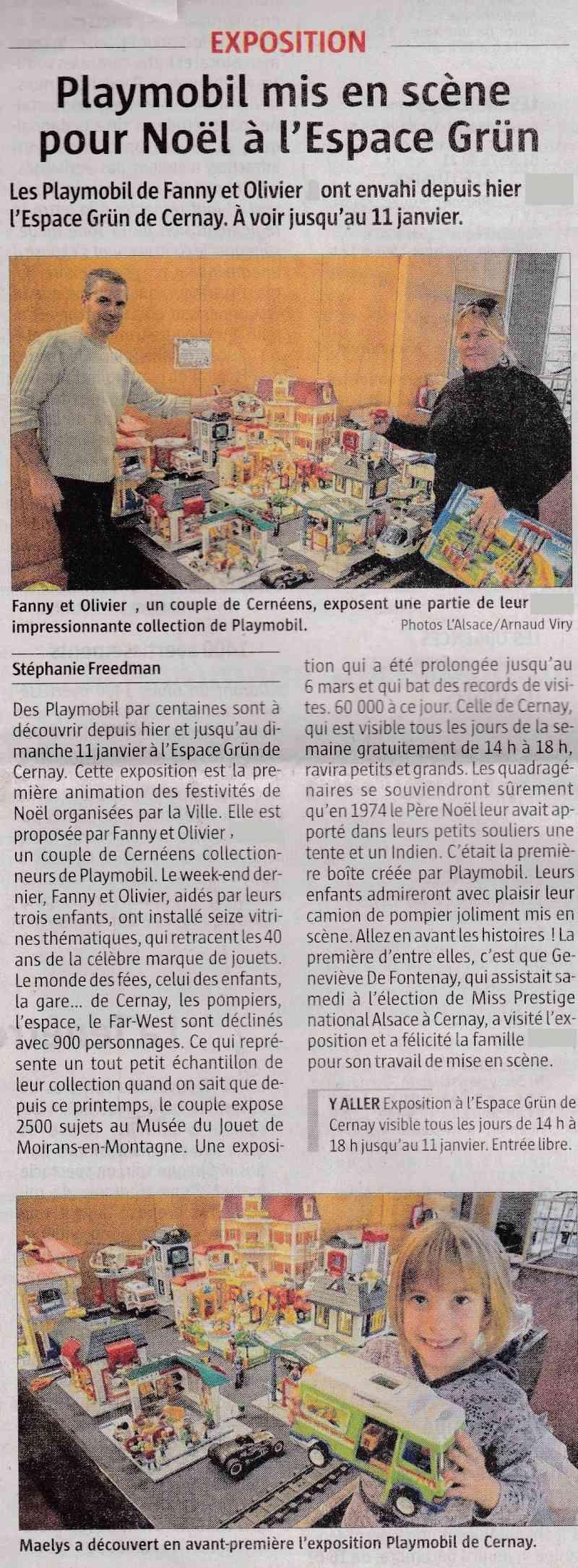 journal l 'alsace du mardi 02 décembre 2014 expo playmobil fanny et olivier