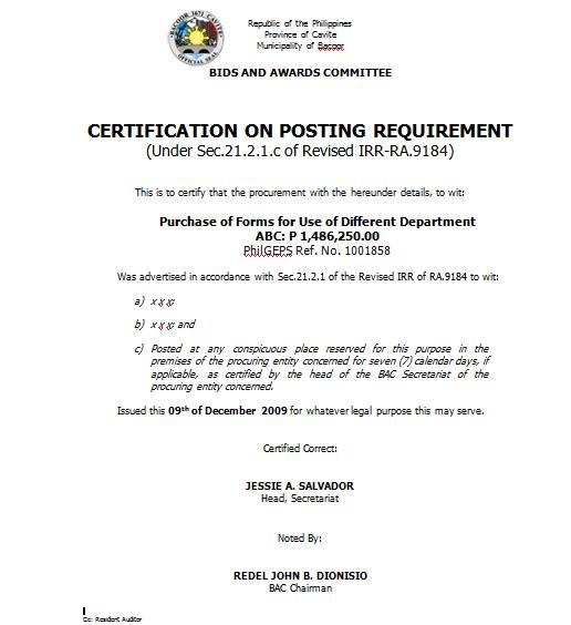 RE: Certification issued by the Head of BAC Secretariat