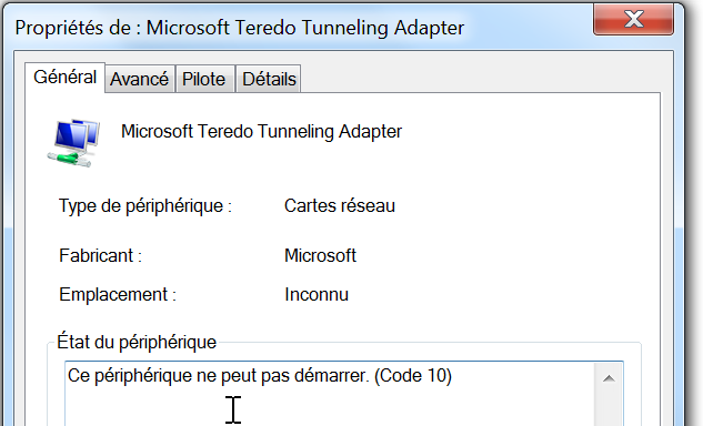 PILOTE TEREDO 7 MICROSOFT ADAPTER GRATUIT TUNNELING WINDOWS TÉLÉCHARGER