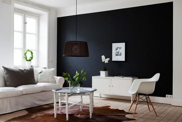 D co salon mur noir for Peinture murale noire