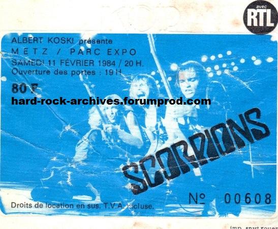 Scorpions 1984 02 11 metz parc des expositions for Parc des expositions de metz