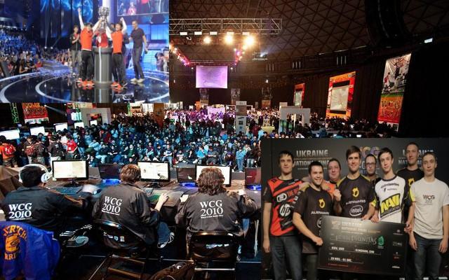 Torneos oficiales de LOL, World Cyber Games, en las esquinas vemos 2 equipos ganadores, el de la esquina inferior derecha recibiendo un premio económico.