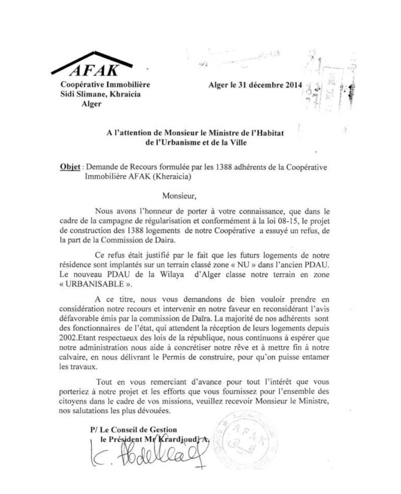 ministere urbanisme algerie