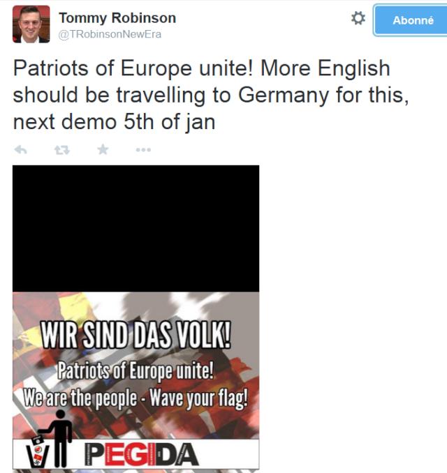 L'ex leader de l'English Defense League annonce la venue de fachos anglais aux manifs PEGIDA allemandes du 5 janvier.