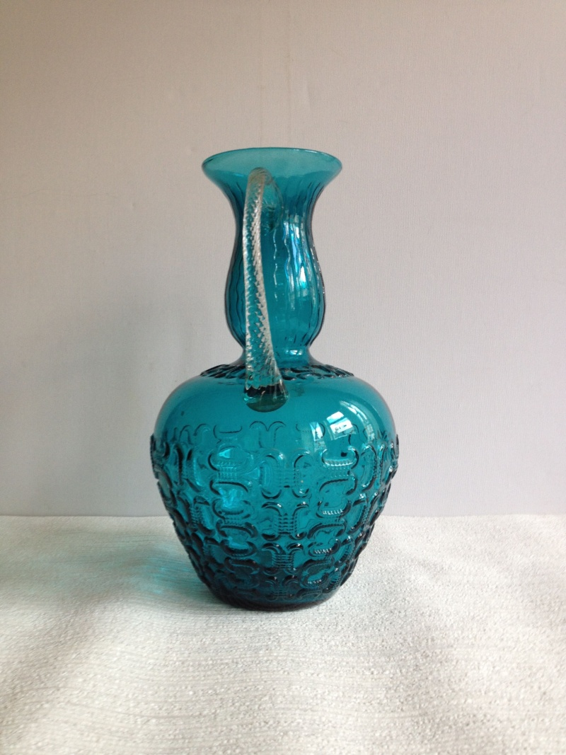 Blue Glass Vase With Raised Design And Twisted Handles