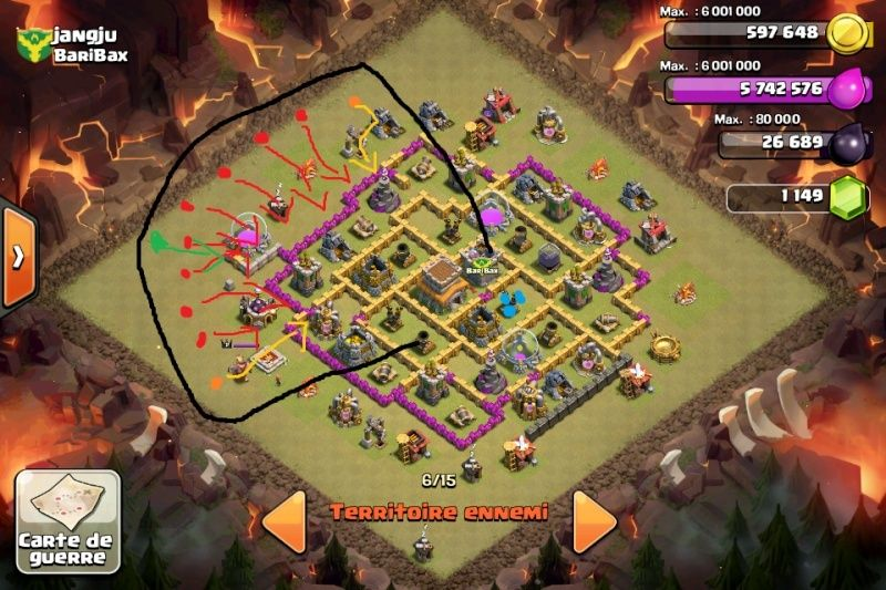 Technique d'attaque clash of clan hdv 8