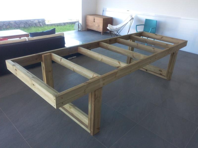 Termine fabrication table en bois peint polycarbonate pour terrasse - Fabrication table bois ...